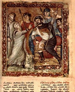 Image of Moses before Pharaoh from the Syriac Bible of Paris