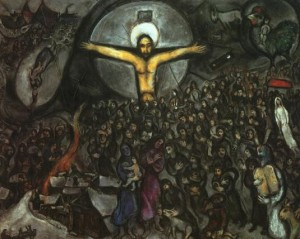 Yup, the Jewish artists, Chagall, stuck Jesus right there amidst the Jewish people with Moses in the foreground. Crazy, man!